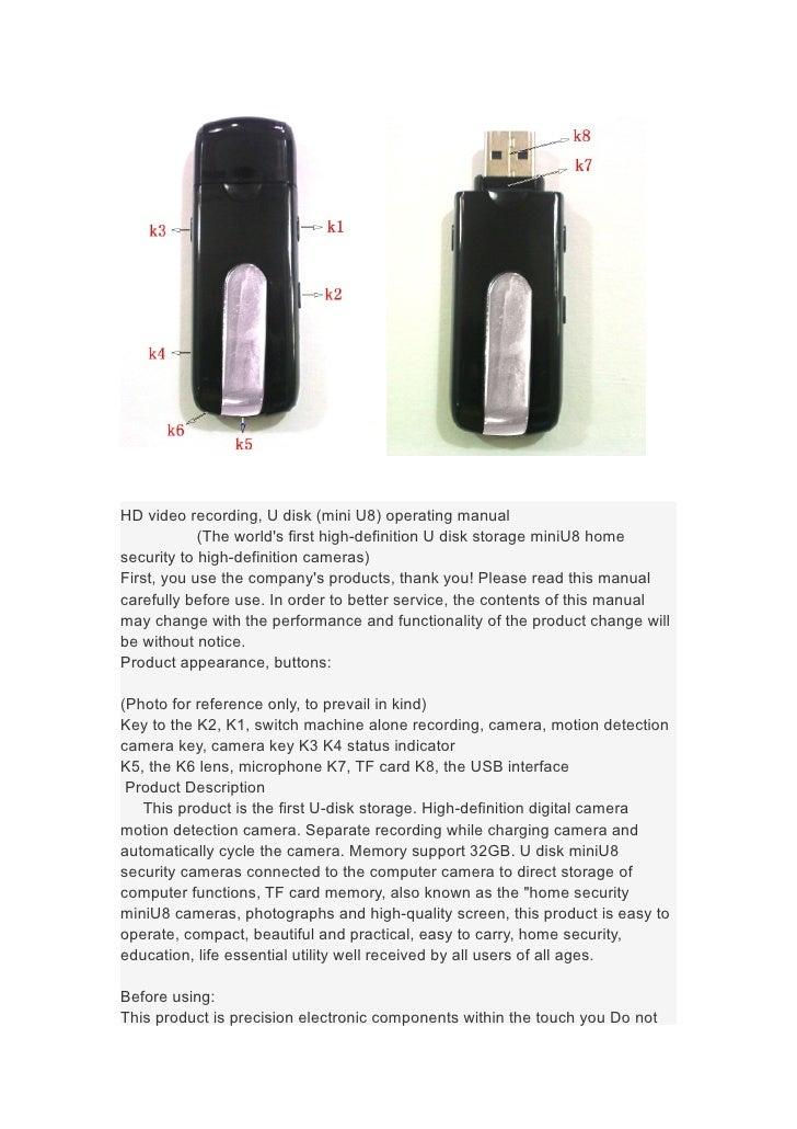 HD video recording, U disk (mini U8) operating manual            (The worlds first high-definition U disk storage miniU8 h...
