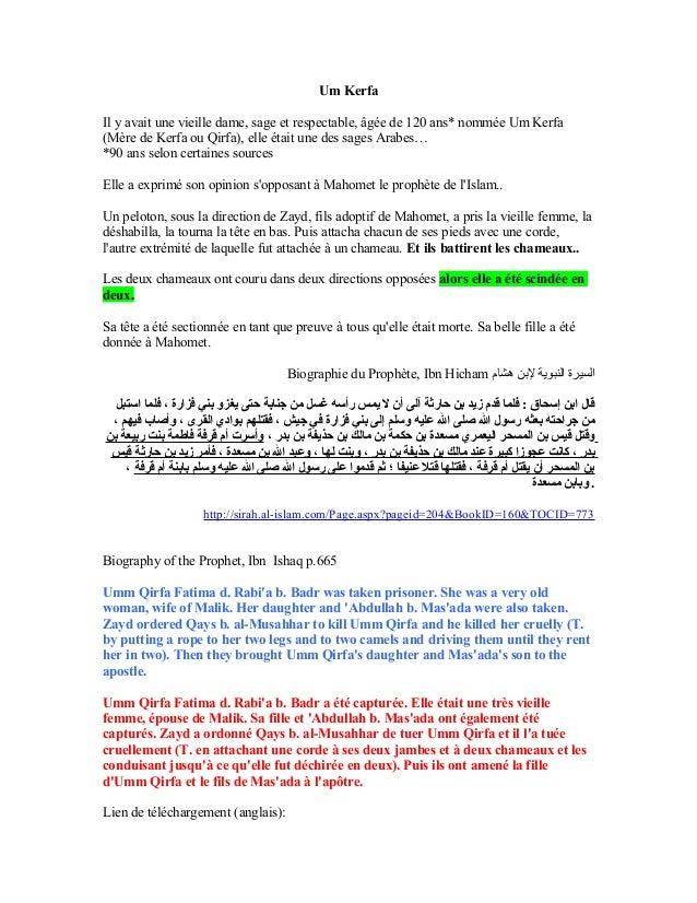 Um KerfaIl y avait une vieille dame, sage et respectable, âgée de 120 ans* nommée Um Kerfa(Mère de Kerfa ou Qirfa), elle é...
