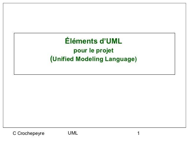 Éléments d'UML                        pour le projet                (Unified Modeling Language)C Crochepeyre        UML   ...