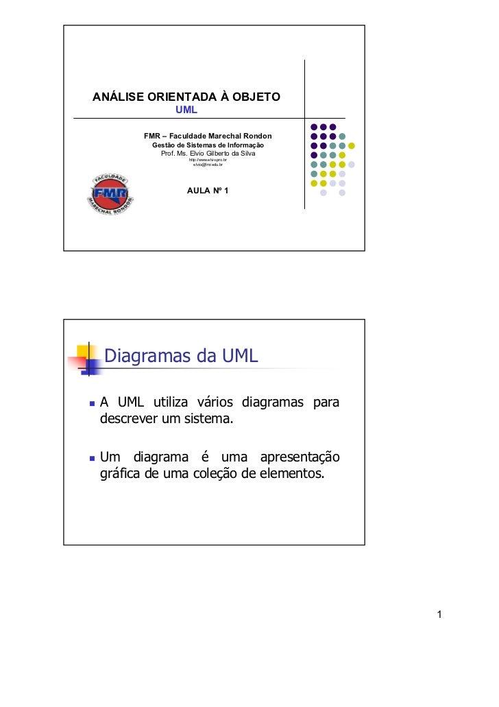 ANÁLISE ORIENTADA À OBJETO               UML       FMR – Faculdade Marechal Rondon        Gestão de Sistemas de Informação...