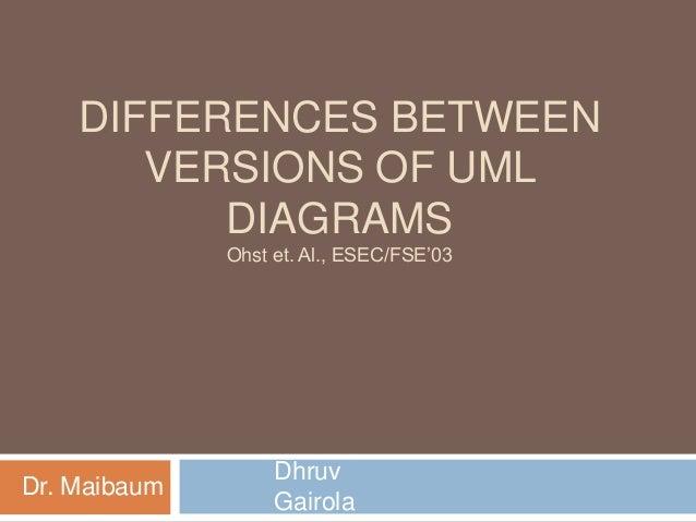 DIFFERENCES BETWEEN VERSIONS OF UML DIAGRAMS Ohst et. Al., ESEC/FSE'03  Dr. Maibaum  Dhruv Gairola