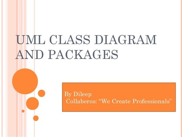 """UML CLASS DIAGRAM AND PACKAGES By Dileep Collaberos: """"We Create Professionals"""""""