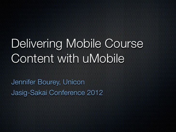 Delivering Mobile Course Content with uMobile