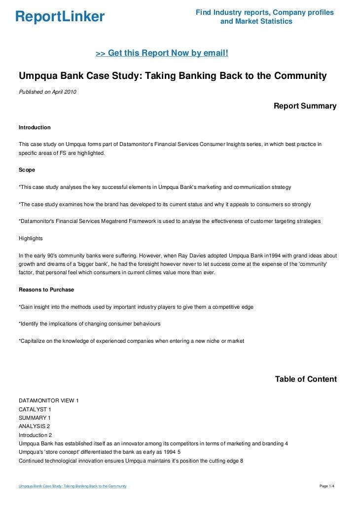 Umpqua Bank Case Study Example - studentshare.org