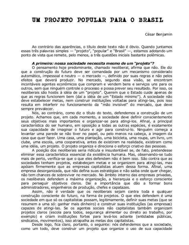 UM PROJETO POPULAR PARA O BRASIL                                                                        César Benjamin    ...