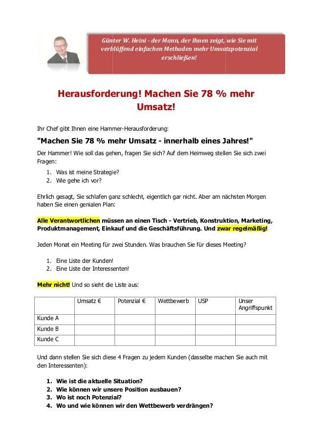 Günter W. Heini  verblüffend einfachen Methoden  Herausforderung  - der Mann, der Ihnen zeigt, wie Sie  mit  mehr Umsatzpo...