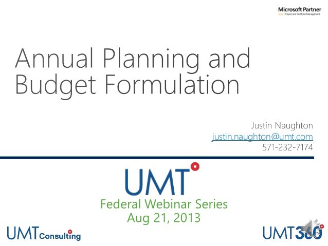 UMT Federal Webinar Series Part 3: Annual Planning and Budget Formulation