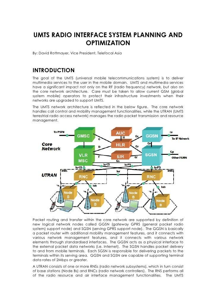 UMTS RADIO INTERFACE SYSTEM PLANNING AND                OPTIMIZATION By: David Rottmayer, Vice President, Telefocal Asia  ...