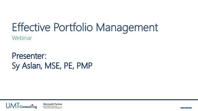 UMT Webinar: Effective Portfolio Management