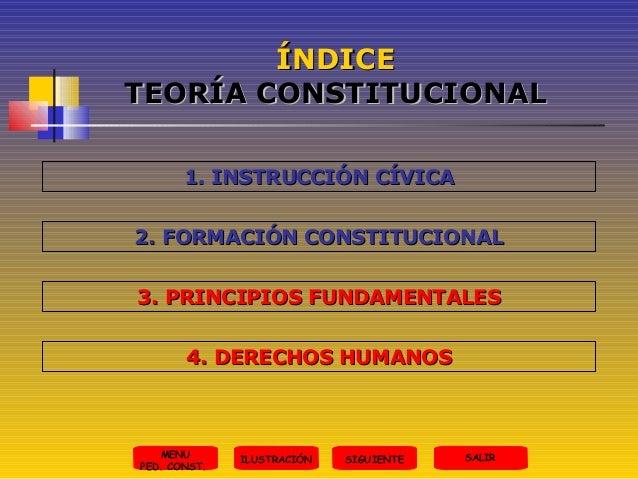 ÍNDICE TEORÍA CONSTITUCIONAL 1. INSTRUCCIÓN CÍVICA 2. FORMACIÓN CONSTITUCIONAL 3. PRINCIPIOS FUNDAMENTALES 4. DERECHOS HUM...