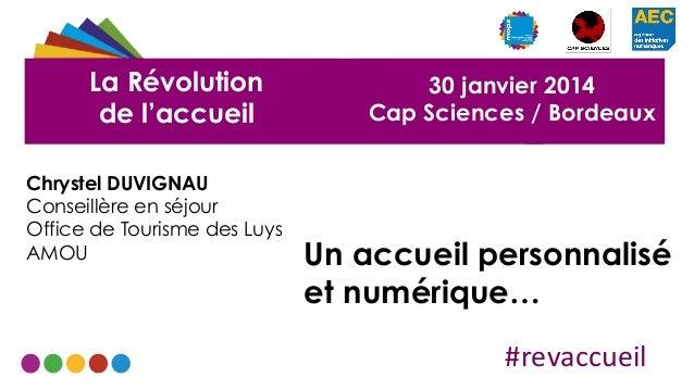 La Révolution de l'accueil Chrystel DUVIGNAU Conseillère en séjour Office de Tourisme des Luys AMOU  30 janvier 2014 Cap S...