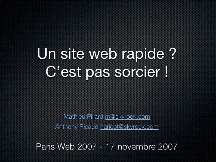 Un site web rapide ?