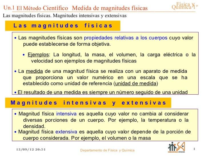 Química y                                                           Física 1ºUn.1 El Método Científico Medida de magnitude...