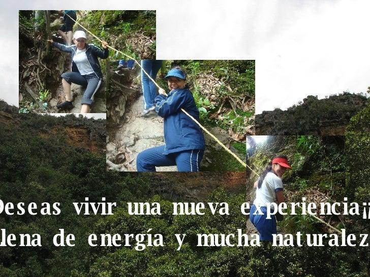 Deseas vivir una nueva experiencia¡¡¡ Llena de energía y mucha naturaleza..