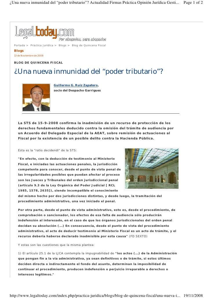 """¿Una nueva inmunidad del """"poder tributario""""? Actualidad Firmas Práctica Opinión Jurídica Gesti...          Page 1 of 2    ..."""