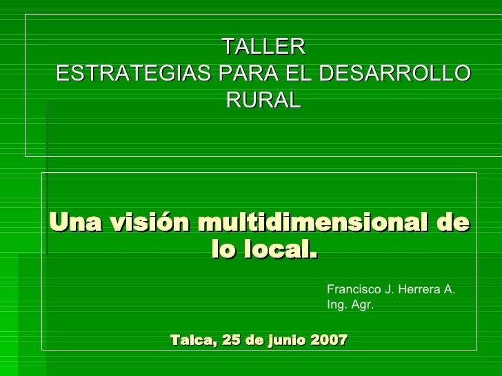 Una visión multidimensional de lo local