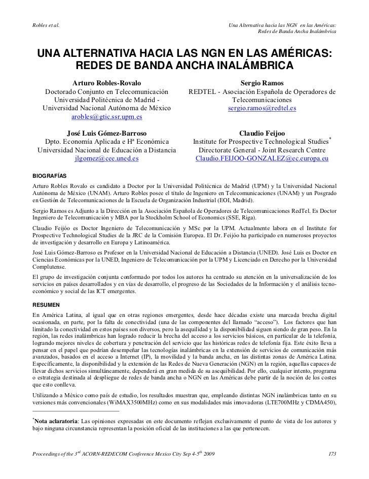 Una alternativa hacia las ngn en las américas redes de banda ancha inalámbrica   arturo robles-rovalo, josé luis gómez-barroso, sergio ramos, claudio feijoo (2009)