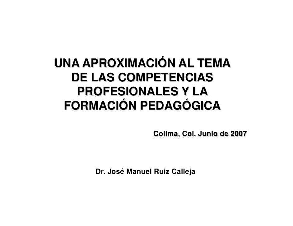 UNA APROXIMACIÓN AL TEMA   DE LAS COMPETENCIAS    PROFESIONALES Y LA  FORMACIÓN PEDAGÓGICA                       Colima, C...