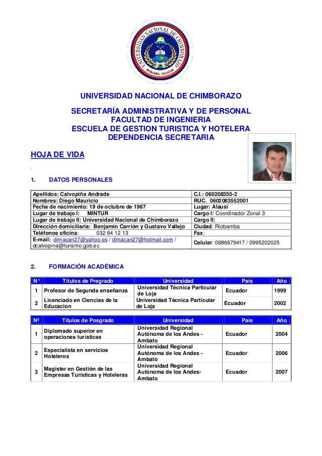 UNIVERSIDAD NACIONAL DE CHIMBORAZO SECRETARÍA ADMINISTRATIVA Y DE PERSONAL FACULTAD DE INGENIERIA ESCUELA DE GESTION TURIS...
