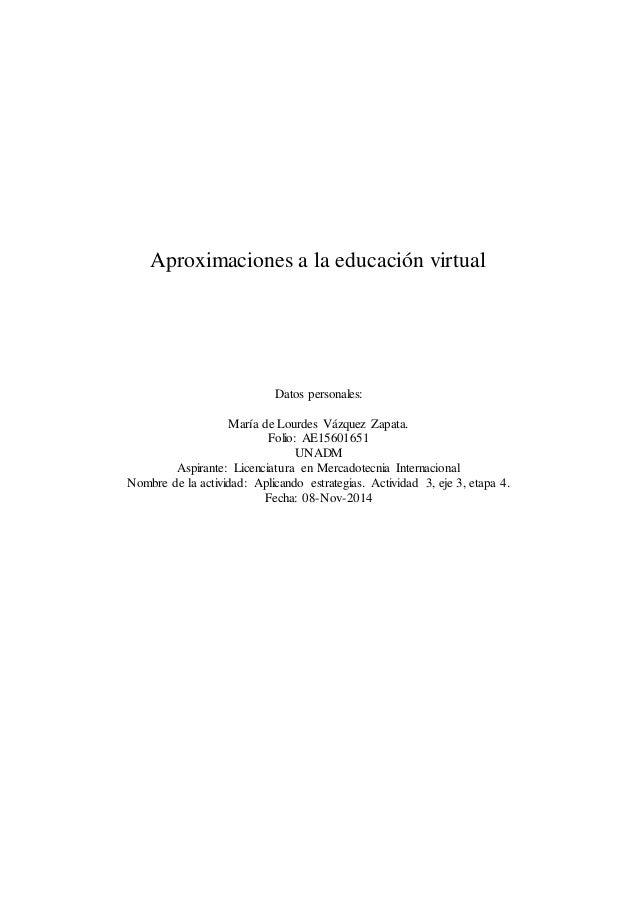 Aproximaciones a la educación virtual  Datos personales:  María de Lourdes Vázquez Zapata.  Folio: AE15601651  UNADM  Aspi...