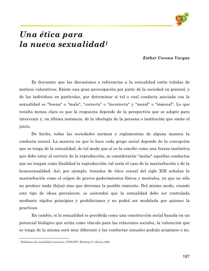 Una ética para la nueva sexualidad1                                                                        Esther Corona V...