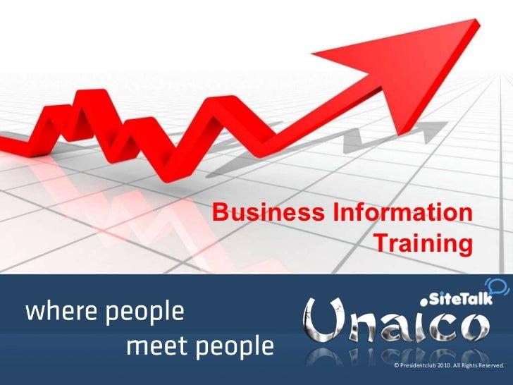 Unaico business information_training