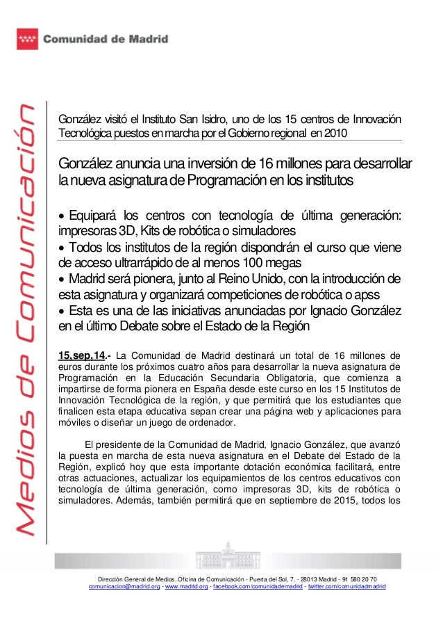 González visitó el Instituto San Isidro, uno de los 15 centros de Innovación  Tecnológica puestos en marcha por el Gobiern...