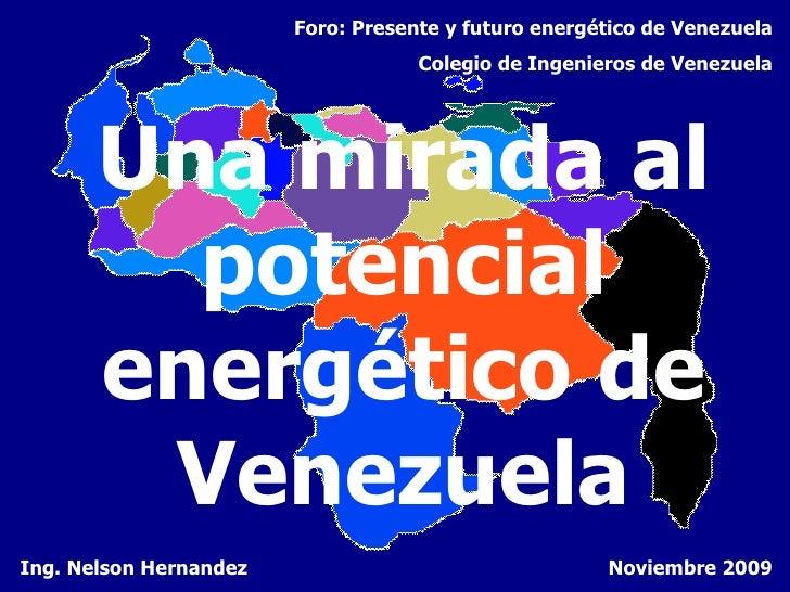 Una mirada al potencial energético de Venezuela Ing. Nelson Hernandez Foro: Presente y futuro energético de Venezuela Cole...