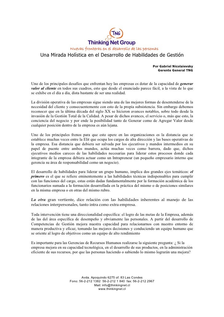 Nuevas fronteras en el desarrollo de las personas     Una Mirada Holística en el Desarrollo de Habilidades de Gestión     ...