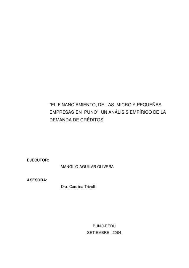 """""""EL FINANCIAMIENTO, DE LAS MICRO Y PEQUEÑAS            EMPRESAS EN PUNO"""". UN ANÁLISIS EMPÍRICO DE LA            DEMANDA DE..."""