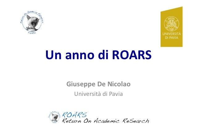 Un#anno#di#ROARS#   Giuseppe#De#Nicolao#     Università*di*Pavia*