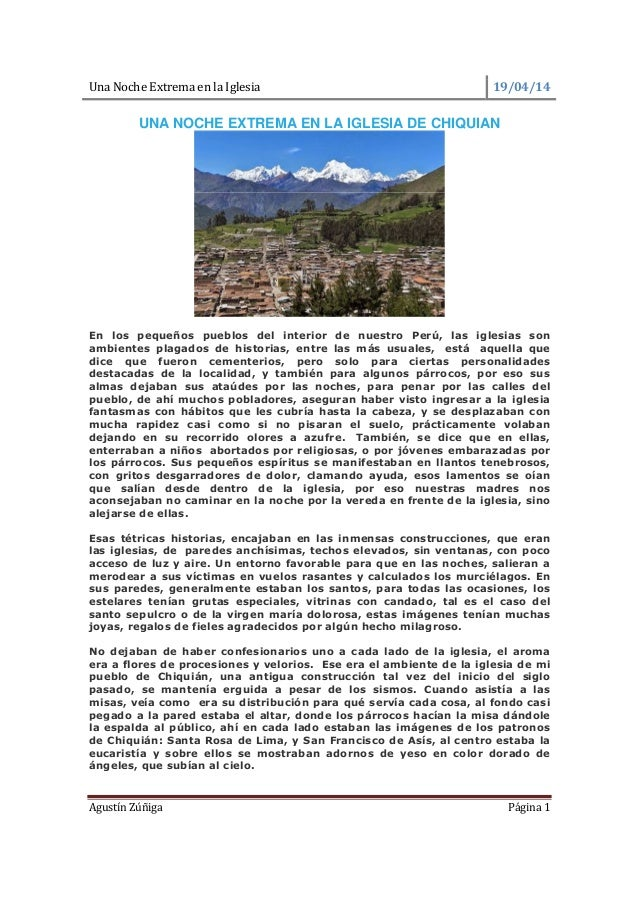 UNA NOCHE EXTREMA EN LA IGLESIA DE CHIQUIAN