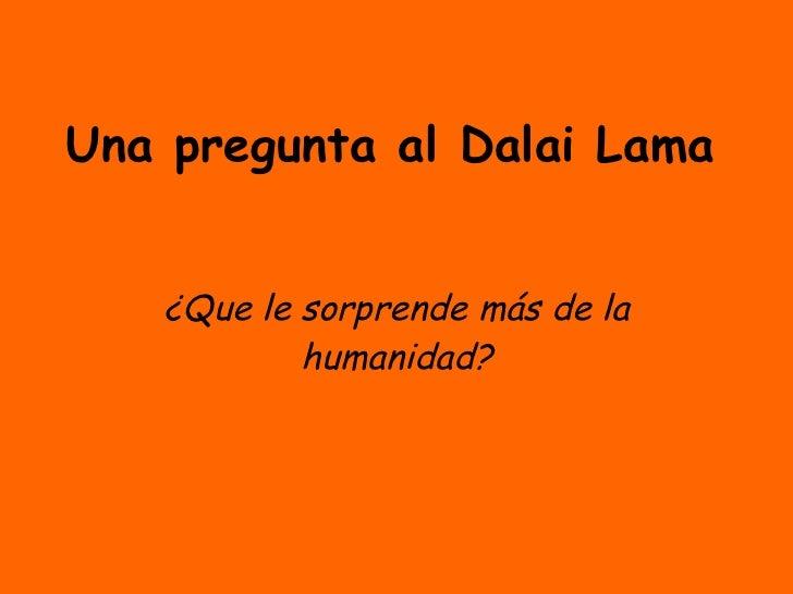 Una pregunta al Dalai Lama ¿Que le sorprende más de la humanidad?