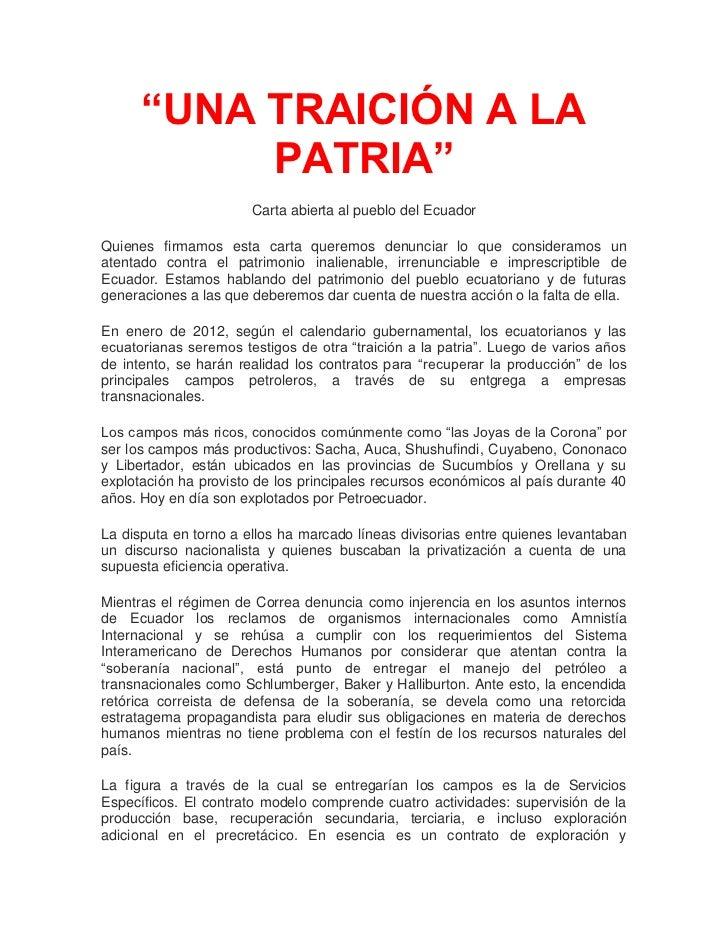 """""""UNA TRAICIÓN A LA           PATRIA""""                       Carta abierta al pueblo del EcuadorQuienes firmamos esta carta ..."""