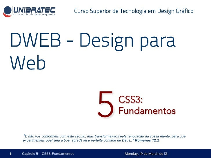 Unb   2012.1 - dweb - 05 - css3 - fundamentos