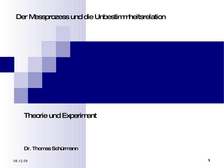 Der Messprozess und die Unbestimmheitsrelation Theorie und Experiment Dr. Thomas Schürmann 08.06.09