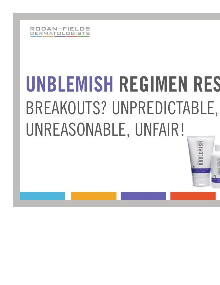 UNBLEMISH REGIMEN RESULTSBREAKOUTS? UNPREDICTABLE,UNREASONABLE, UNFAIR!