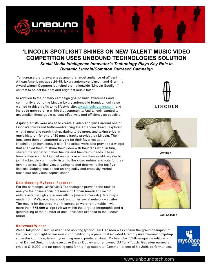 'LINCOLN SPOTLIGHT SHINES ON NEW TALENT' MUSIC VIDEO       COMPETITION USES UNBOUND TECHNOLOGIES SOLUTION                 ...