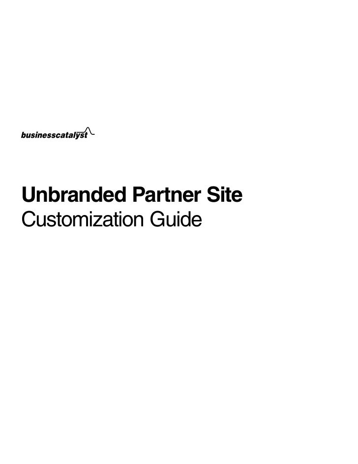 Unbranded Partner SiteCustomization Guide
