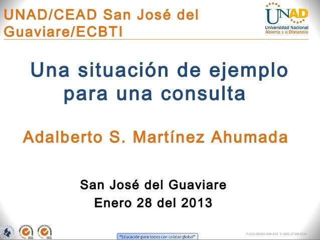 UNAD/CEAD San José delGuaviare/ECBTI  Una situación de ejemplo    para una consulta  Adalberto S. Martínez Ahumada        ...
