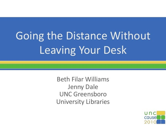 Going the Distance Without Leaving Your Desk Beth Filar Williams Jenny Dale UNC Greensboro University Libraries