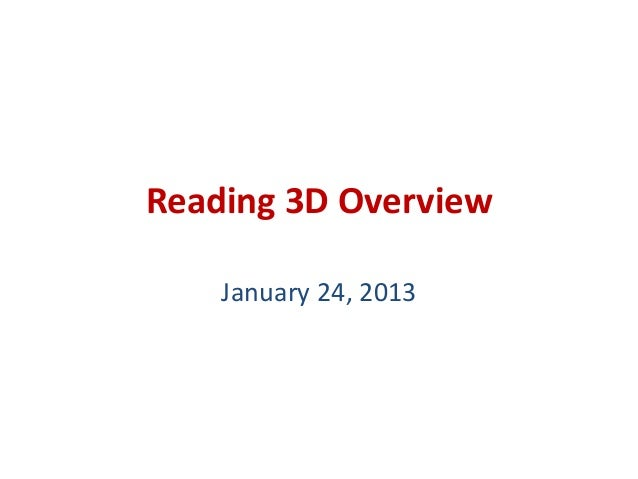 Reading 3D Overview    January 24, 2013