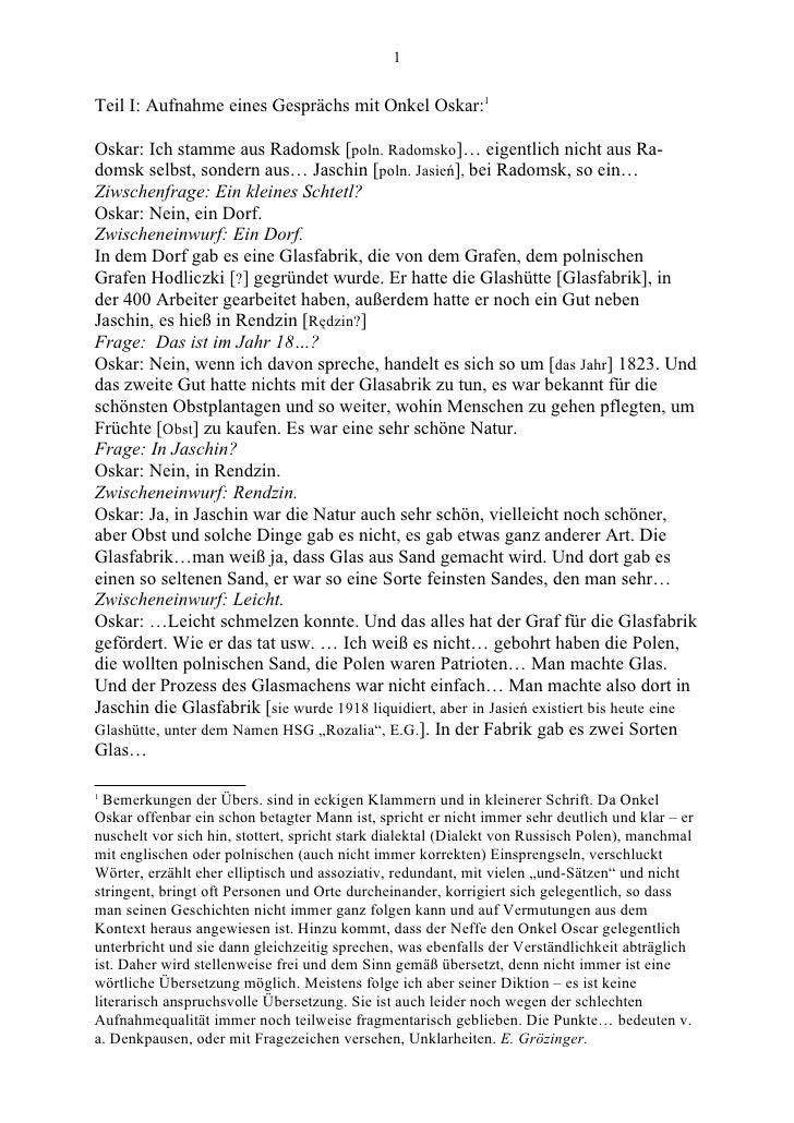 1   Teil I: Aufnahme eines Gesprächs mit Onkel Oskar:1  Oskar: Ich stamme aus Radomsk [poln. Radomsko]… eigentlich nicht a...