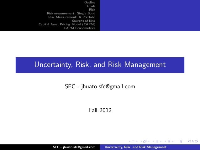 Uncertainty, Risk, and Risk Management