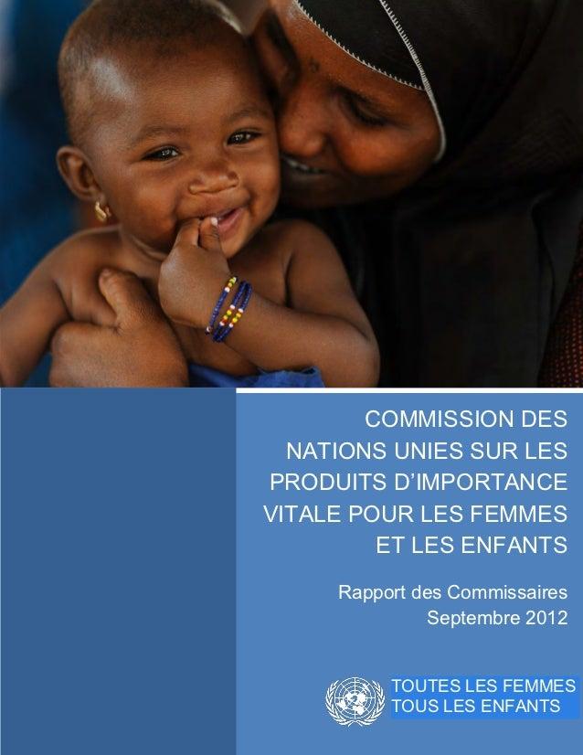 COMMISSION DES           NATIONS UNIES SUR LES         PRODUITS D'IMPORTANCE         VITALE POUR LES FEMMES               ...