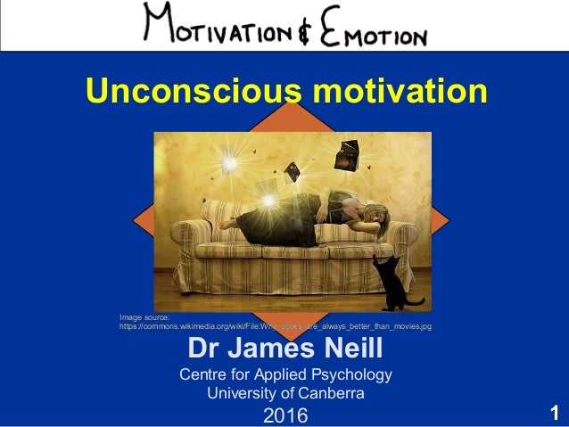 1 Motivation & Emotion Dr James Neill Centre for Applied Psychology University of Canberra 2015 Unconscious motivation Ima...