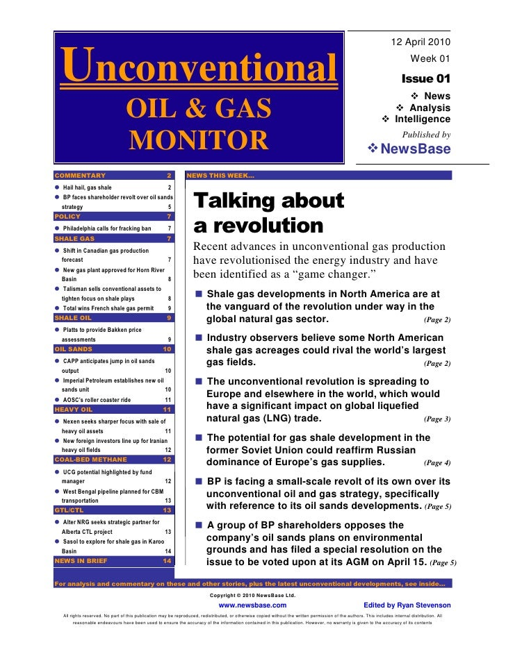 UOGM Launch Issue 12th April 2010 - Shale Gas Revolution
