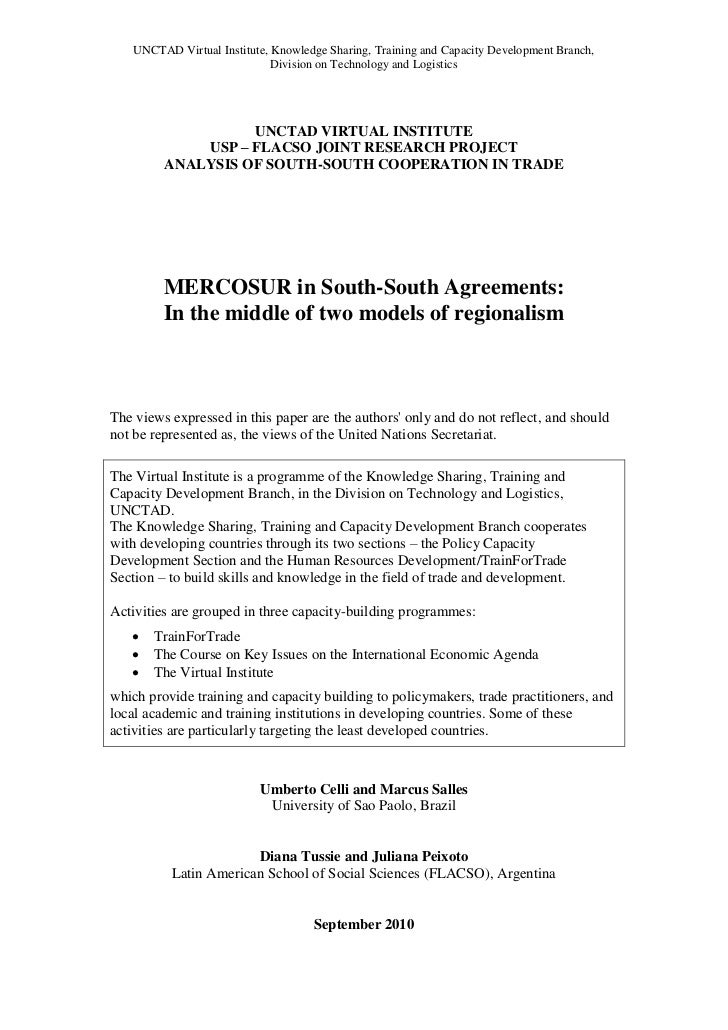 UNCTAD-MERCOSUR in the South-South Agreements – In the middle of two models of regionalism