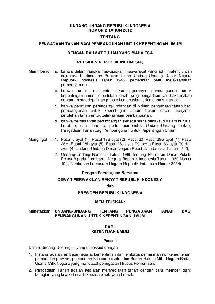 Undang   undang ri no 2 tahun 2012 tentang pengadaan tanah bagi kepentingan umum