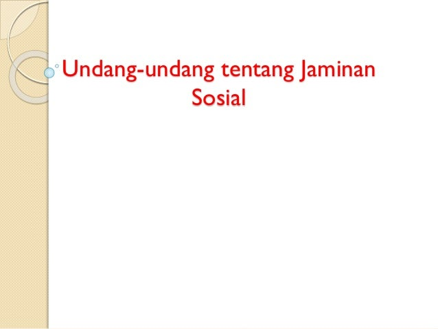 Undang-undang tentang Jaminan Sosial